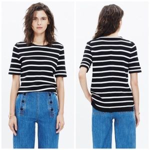 Madewell Wool Striped Knit Shortsleeve Pullover